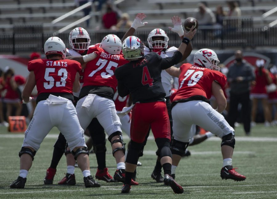 WKU quarterback Bailey Zappe unleashes a pass during the Hilltoppers spring game back in April.