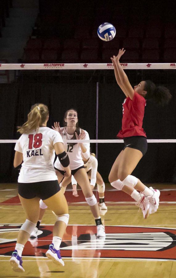 WKU Hilltoppers fifth year Nadia Dieudonne (2) sets up fifth year Logan Kael (18) during the match against Ohio University on Friday, Sept. 17, 2021, at Diddle Arena.