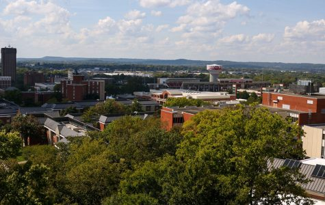 The view from an upper floor of Cravens Library on Sept. 29, 2021