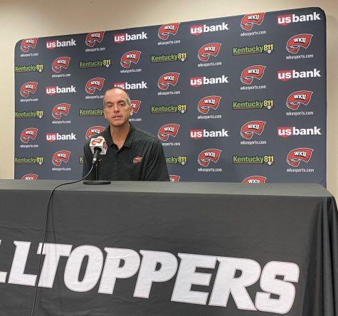 WKU Volleyball head coach Travis Hudson addresses the media on Monday, Sept. 6 2021.