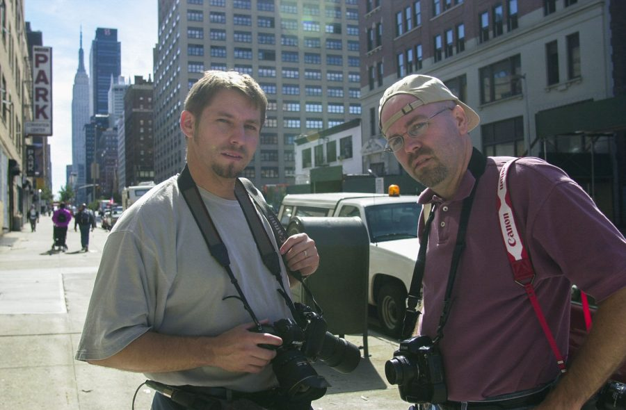 James Kenney and David Cooper stand on the streets of Lower Manhattan in New York City sometime during their trip documenting the devastation caused by the attacks on the World Trade Centers on Sept. 11, 2001.