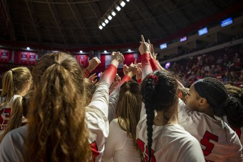 WKU Hilltoppers break before their volleyball game against the Ole Miss Rebels on the evening of Sept. 10, 2021, at Diddle Arena. WKU lost 3-1.
