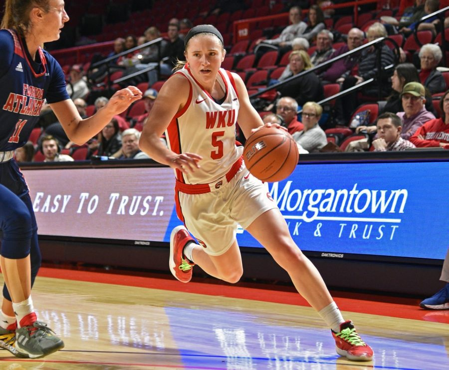 Whitney Creech (5) played in 128 games and scored 958 points during her time at Western Kentucky.