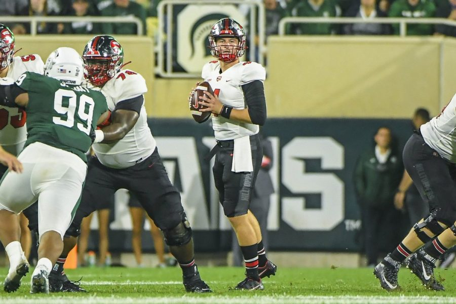 WKU quarterback Bailey Zappe (4) went 46-of-64 for 488 yards and three touchdowns but the Hilltoppers fell to No. 17 Michigan State 48-31 on Oct. 2, 2021 in East Lansing, Michigan.