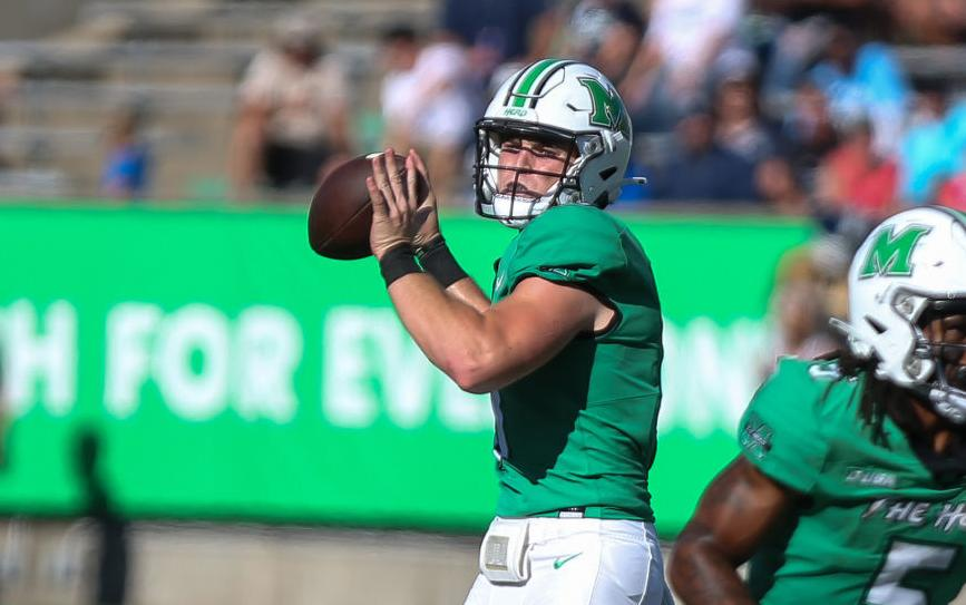 Marshall quarterback Grant Wells gets set to pass during the Thundering Herd's game  against Old Dominion at Joan C. Edwards Stadium on Oct. 9, 2021.
