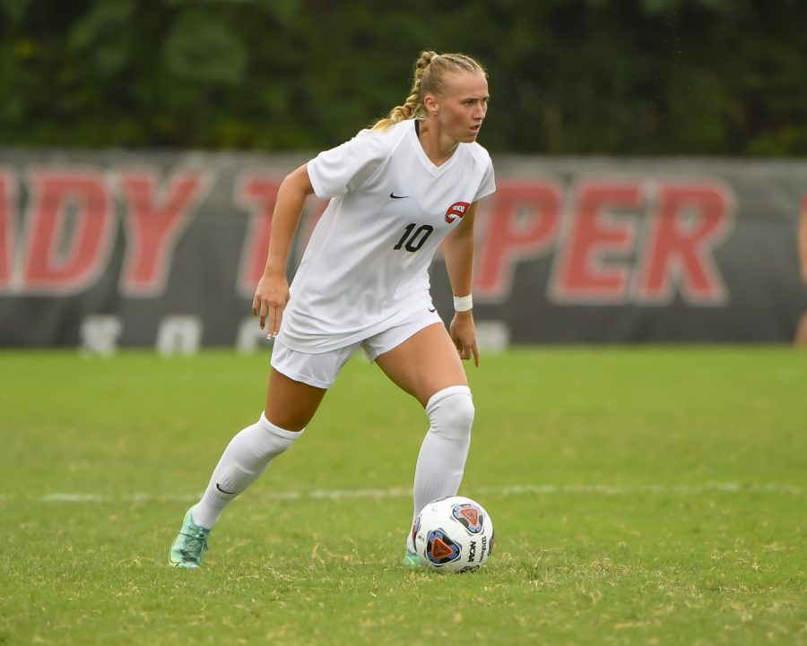 Mackenzie Crittenberger, a defender on WKUs soccer team, transferred to the Hill from NC State this season. She joins her brother Ty as members of WKU Athletics.